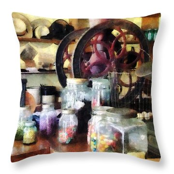 General Store With Candy Jars Throw Pillow by Susan Savad