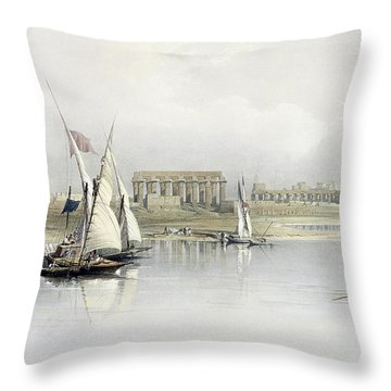 General View Of The Ruins Of Luxor From The Nile Throw Pillow