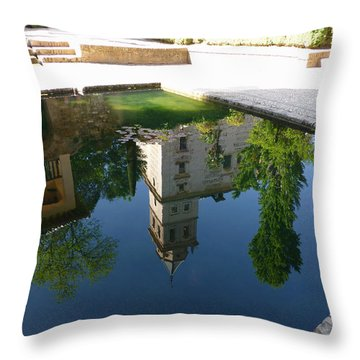 Generalife Pool At The Alhambra Throw Pillow by Susan Alvaro