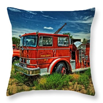 Throw Pillow featuring the photograph Generations Of Fire Fighting Equipment by Ken Smith