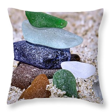 Genuine Sea Glass Throw Pillow by Janice Drew