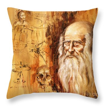 Genius   Leonardo Da Vinci Throw Pillow by Arturas Slapsys