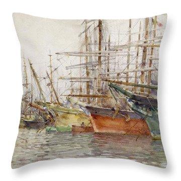 Genoa Harbour, 1904 Throw Pillow by Henry Scott Tuke