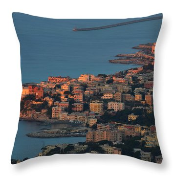 Genoa Panorama Sunset - Tramonto Su Genova Boccadasse E Corso Italia Throw Pillow