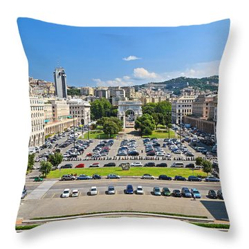 Genova - Piazza Della Vittoria Overview Throw Pillow