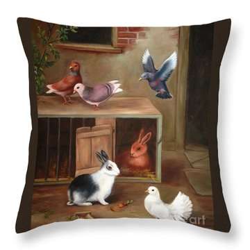 Gentle Creatures Throw Pillow by Hazel Holland