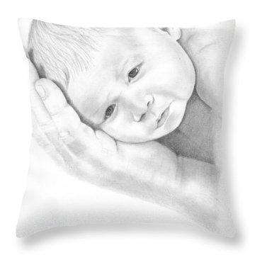Throw Pillow featuring the drawing Gentle Innocence by Patricia Hiltz