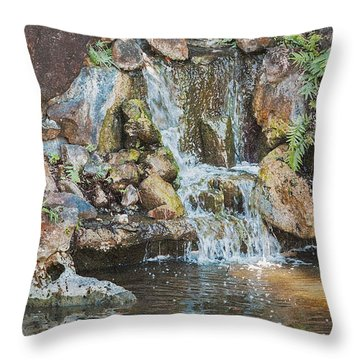 Gentle Waterfall With Sunbeam Throw Pillow