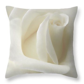Gentle White Rose Flower Throw Pillow