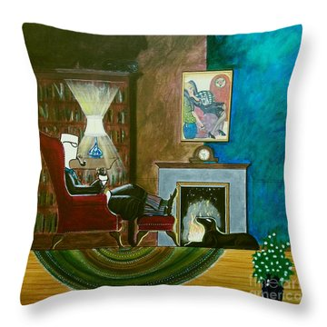 Gentleman Sitting In Wingback Chair Enjoying A Brandy Throw Pillow