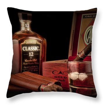 Gentlemen's Club Still Life Throw Pillow