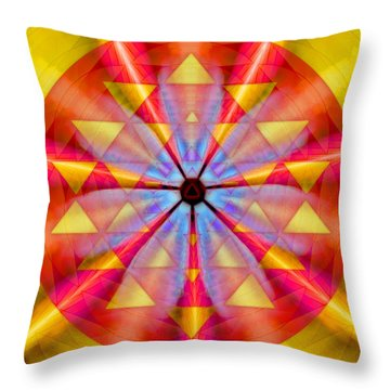 Geo-cosmic Sri Yantra Throw Pillow by Derek Gedney