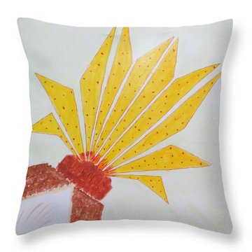 Geometric Blooming Lotus Throw Pillow