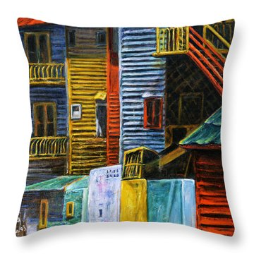 Throw Pillow featuring the painting Geometric Colours I by Xueling Zou