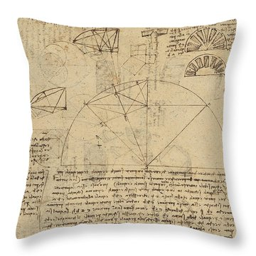 Geometrical Study About Transformation From Rectilinear To Curved Surfaces And Vice Versa From Atlan Throw Pillow by Leonardo Da Vinci