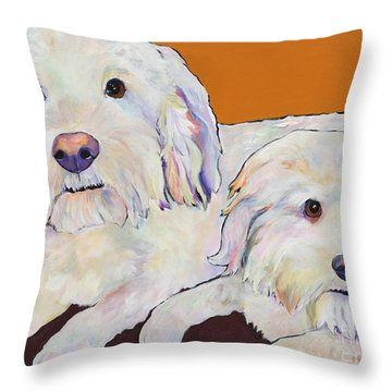 George And Henry Throw Pillow by Pat Saunders-White
