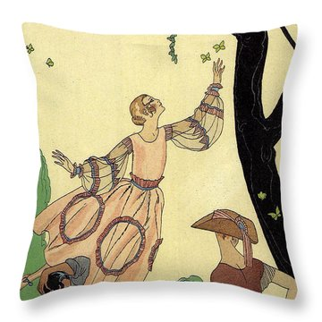 George Barbier Papillons 1921 Throw Pillow