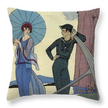 George Barbier Romance Sans Paroles 1922 Sailor Woos Lady On Shore Throw Pillow
