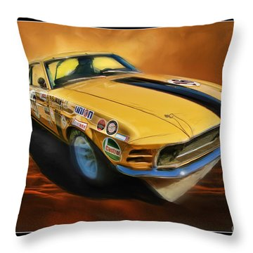 George Follmer 1970 Boss 302 Ford Mustang Throw Pillow