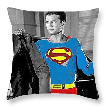 George Reeves As Superman In His 1950's Tv Show Apprehending Two Bad Guys 1953-2010 Throw Pillow