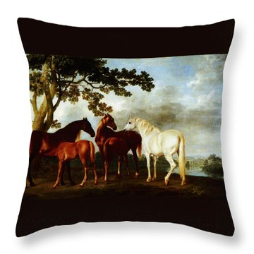 Throw Pillow featuring the painting Horses by George Stubbs