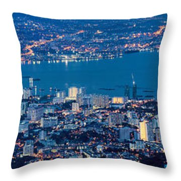 George Town Penang Malaysia Aerial View At Blue Hour Throw Pillow by Jit Lim