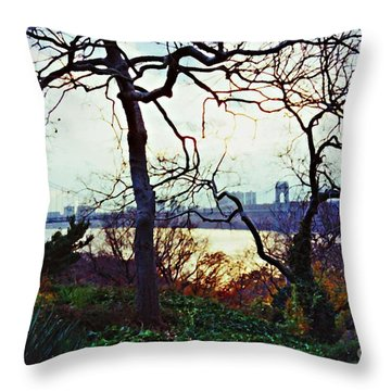 George Washington Bridge At Sunset Throw Pillow by Sarah Loft