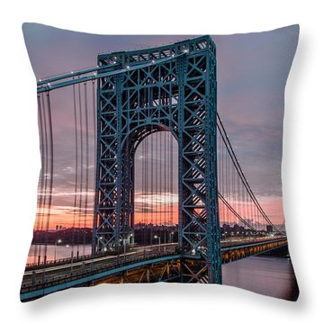 George Washington Bridge At Twilight Throw Pillow