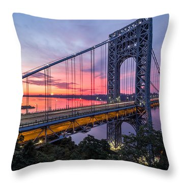George Washington Bridge Throw Pillow by Mihai Andritoiu