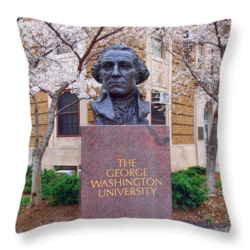 George Washington University Bust 1958 Throw Pillow