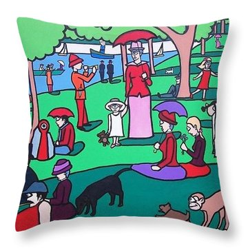 George Seurat- A Cyclops Sunday Afternoon On The Island Of La Grande Jatte Throw Pillow by Thomas Valentine