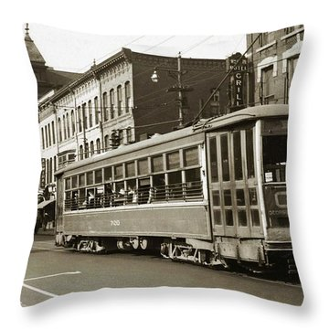 Georgetown Trolley E Market St Wilkes Barre Pa By City Hall Mid 1900s Throw Pillow