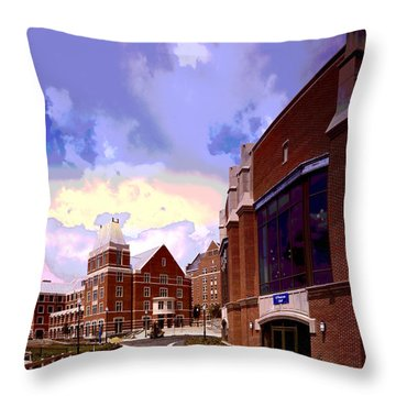 Throw Pillow featuring the mixed media Georgetown University by Charles Shoup