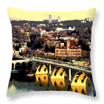 Throw Pillow featuring the mixed media Georgetown Washington Dc by Charles Shoup