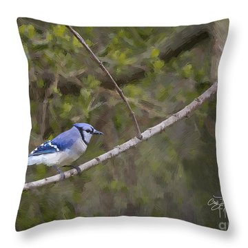 Georgia Bluejay In Spring Throw Pillow by Cris Hayes