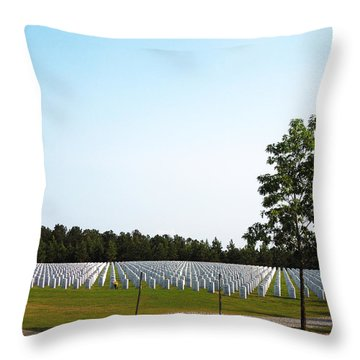 Throw Pillow featuring the photograph Georgia National Cemetery by Pete Trenholm
