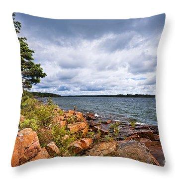 Georgian Bay Shore Throw Pillow by Elena Elisseeva