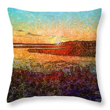Georgian Bay Sunset Throw Pillow by Claire Bull