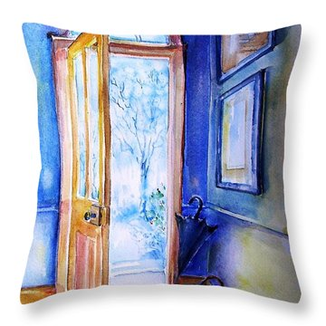Throw Pillow featuring the painting Winter Doorway Ireland    by Trudi Doyle