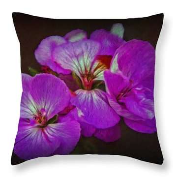 Throw Pillow featuring the photograph Geranium Blossom by Hanny Heim