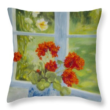 Geraniums Throw Pillows
