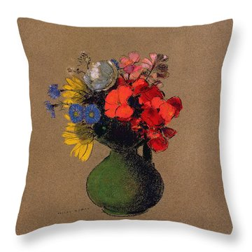 Geraniums And Flowers Of The Field Throw Pillow by Odilon Redon