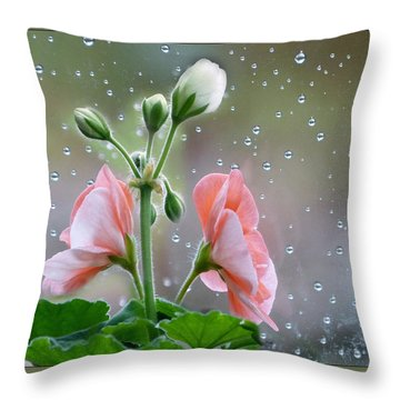 Geraniums Throw Pillow by Geraldine Alexander