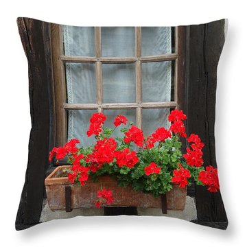Geraniums In Timber Window Throw Pillow