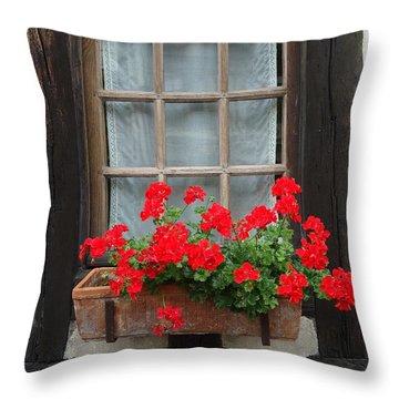 Geraniums In Timber Window Throw Pillow by Barbie Corbett-Newmin