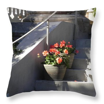 Throw Pillow featuring the photograph Geraniums Look Better In Beaufort by Patricia Greer