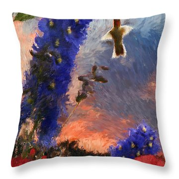 Geraniums Red And Delphiniums Blue Throw Pillow