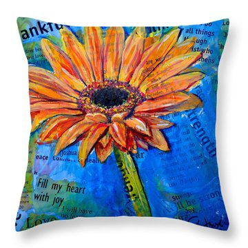 Throw Pillow featuring the painting Gerbera Daisy Love by Lisa Fiedler Jaworski