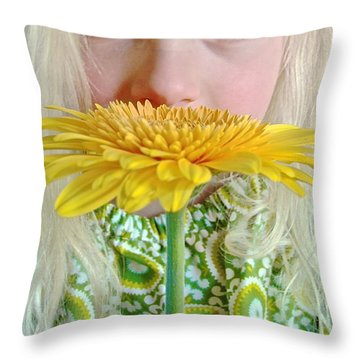 Gerbera Girl Throw Pillow by Suzanne Oesterling