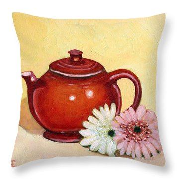 Gerberas Throw Pillow by Katherine Miller